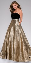 Jovani Strapless Metallic Brocade Evening Dress