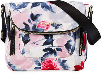 Karl Lagerfeld Paris Cara Floral-Print Nylon Messenger Bag