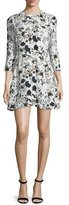 A.L.C. Terry 3/4-Sleeve Floral Silk Dress, Eggshell/Black/Blue
