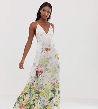 Asos Tall DESIGN Tall cami satin trapeze maxi dress in meadow floral print-Multi