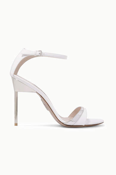 Miu Miu Metallic-trimmed Patent-leather Sandals - White