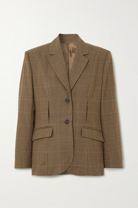 WRIGHT LE CHAPELAIN Zip-detailed Checked Wool Blazer - Brown