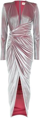 Alexandre Vauthier Long Sleeve Deep V Velvet Dress