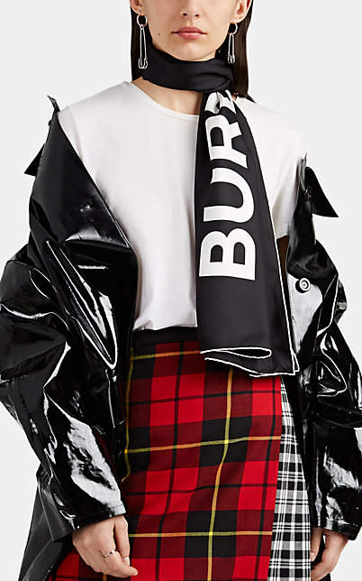Burberry Women's Logo Silk Scarf - Black