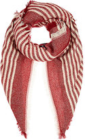 Barneys New York WOMEN'S STRIPED BLANKET SCARF-RED