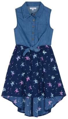 bluezoo - 'Girls' Multi-Coloured Unicorn Print Denim Dress