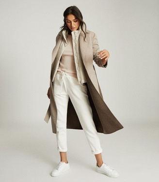 Reiss ELYSE WOOL BLEND REVERSIBLE LONGLINE OVERCOAT Mink