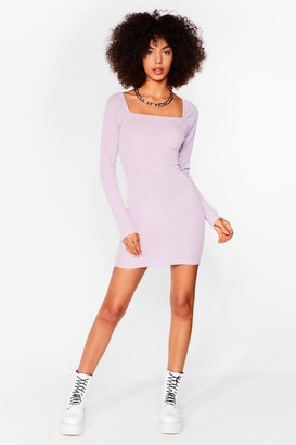 Nasty Gal Womens At Your Square Neck and Call Ribbed Mini Dress - Lilac