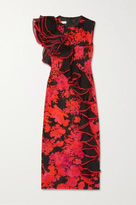 Dries Van Noten Ruffled Organza-trimmed Floral-print Cotton-blend Midi Dress - Red