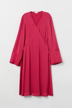 H&M Satin Wrap Dress - Pink