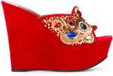 Casadei stones embellished platform mules - women - Chamois Leather/Leather/Nappa Leather - 35