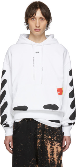Off-White SSENSE Exclusive White Incomplete Spray Paint Hoodie