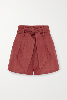 BONDI BORN Net Sustain Fancy Belted Linen Shorts - Brick