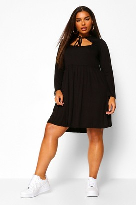 boohoo Plus long sleeve cut out smock dress