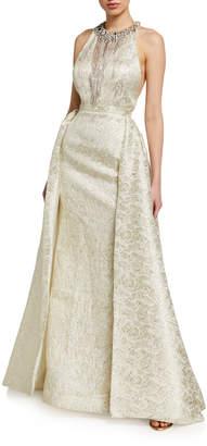 Mac Duggal Embellished High-Neck Racerback Ball Gown
