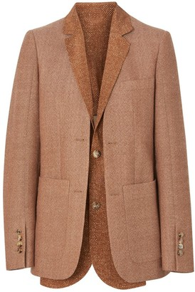 Burberry Fish-scale Print Bib Detail Wool Tailored Jacket
