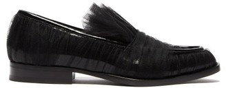 Midnight 00 Tulle-covered Patent-leather Loafers - Womens - Black