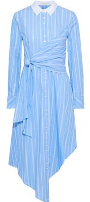 Jonathan Simkhai Asymmetric Knotted Striped Cotton-poplin Shirt Dress