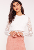 Missguided Crochet Lace Crop Top White