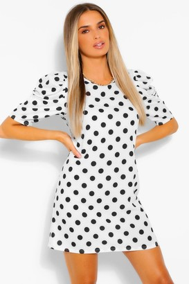 boohoo Polka Dot Print Off The Shoulder Belted Shift Dress