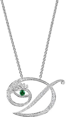 Tabayer Eye 18K White Gold, Emerald & Diamond Dedicated Pendant Necklace