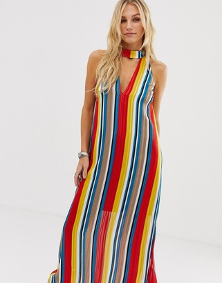 En Creme high neck maxi dress in rainbow stripe with cut out plunge front
