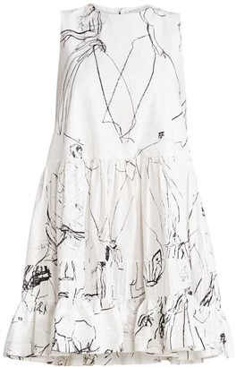 Alexander McQueen Faces Sleeveless Babydoll Mini Dress