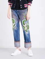 Gucci Dragon-embroidered mid-rise straight jeans