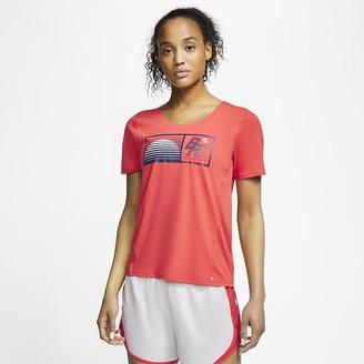 Nike Women's Short-Sleeve Running Top City Sleek Blue Ribbon Sports