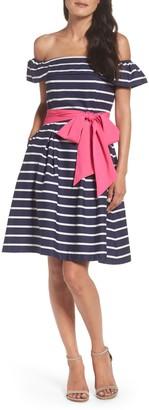 Eliza J Off the Shoulder Striped Dress