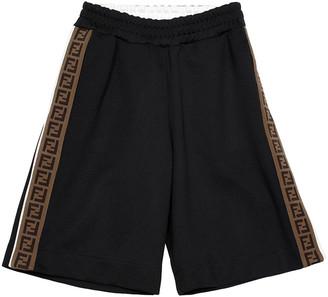 Fendi Boy's Side Snap Logo Track Shorts, Size 4-6