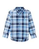 Ralph Lauren Long-Sleeve Plaid Sport Shirt, Blue, Size 5-7