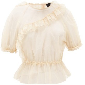 Simone Rocha Frill-trimmed Puff-sleeve Tulle Top - Womens - Nude