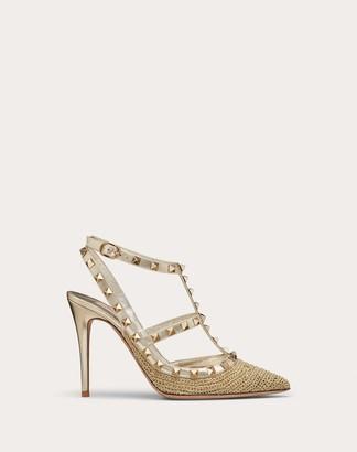 Valentino Rockstud Lurex Crochet Ankle Strap Pump 100 Mm Women Gold 100% Poliammide 36