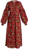 Stella Jean Lamp-print puff-sleeved dress