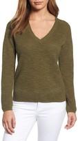 Eileen Fisher V-Neck Organic Linen & Cotton Sweater