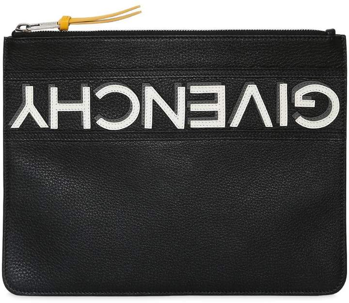 Givenchy Reverse Logo Grained Leather Pouch