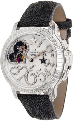 Zenith White 18K White Gold Diamond and Leather Starissime 45.1232.4021 Women's Wristwatch 37MM