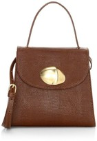 Little Liffner Little Lady Shell Lizard-Embossed Leather Top Handle Bag