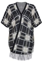 Quiz Black Knit Check Tassel 1/2 sleeve Cardigan