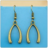 Nobrand No brand Simple Vintage WishBone Charm Dangle Earring, Charming Drop Earring