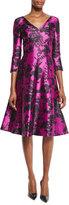 Oscar de la Renta Floral 3/4-Sleeve V-Neck Dress, Fuchsia