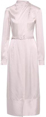 Gabriela Hearst Josefina Belted Draped Hammered-silk Midi Dress