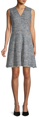 Rebecca Taylor Fringed Tweed Flare Dress