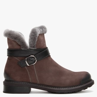 Df By Daniel Mostly Grey Nubuck Leather Shearling Ankle Boots