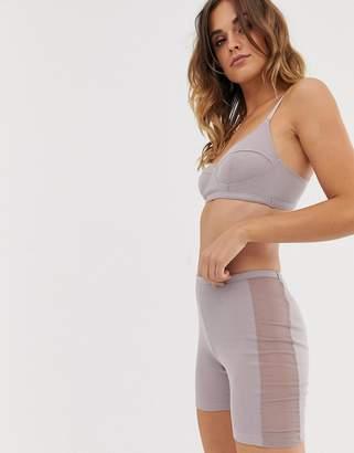 Asos Design DESIGN Nadette jersey rib and mesh legging short-Grey