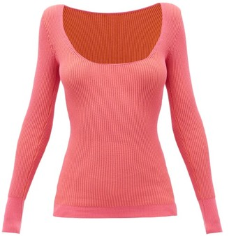 Jacquemus Rosa Scoop-neck Ribbed-jersey Sweater - Womens - Pink