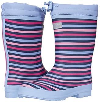 Hatley Rainbow Stripe Sherpa Lined Rain Boots (Toddler/Little Kid) (Purple) Girl's Shoes