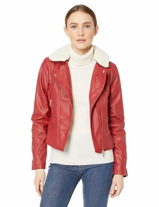 Yoki Women's Faux Leather Moto Jacket with Shepra Collar Outerwear