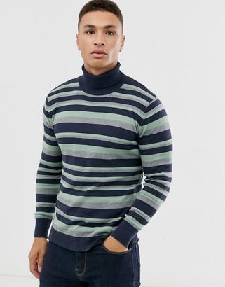 NATIVE YOUTH stripe turtleneck-Navy